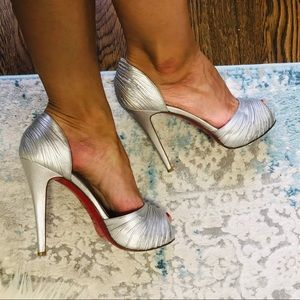 Christian Louboutin turbella silver 120mm pumps